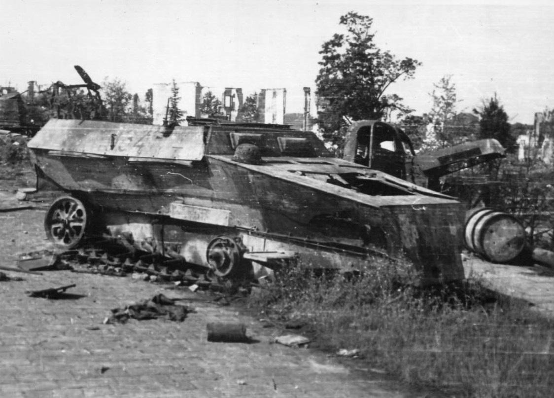 wrecked German half-track on the Bridge ramp. Larger image ... Pegasus
